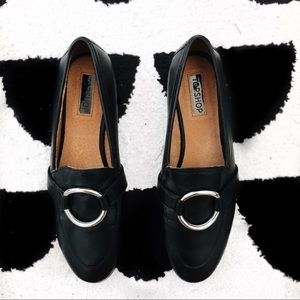 Topshop Black pointed toe loafers